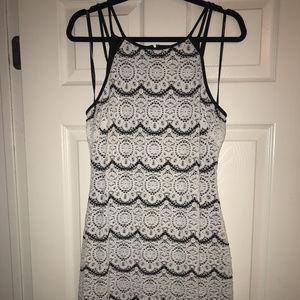 GUESS Crocheted White/Black Sleeveless Dress, M